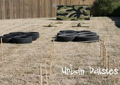 obstacle course, ropes to crawl under and balance beam