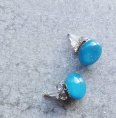 Teal Blue Stud Earrings  Teal Glass Earrings   Fused by GLASPUNT