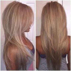 Coupe degrade en v cheveux long