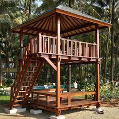 We build gazebo and prefab house in Bali. Hut House, House Deck, Tiny House Cabin, Backyard Gazebo, Backyard Patio Designs, Pergola, Village House Design, Tree House Designs, Bamboo House Design