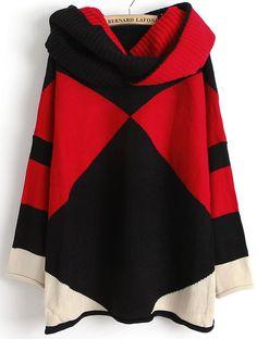 Langarm-Pullover mit geometrischem Muster, schwarz/rot