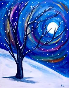 Easy Canvas Painting, Moon Painting, Winter Painting, Winter Art, Painting & Drawing, Canvas Art, Christmas Paintings On Canvas, Pictures To Paint, Acrylic Art