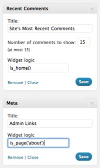 Widget Logic lets you control on which pages widgets appear using WP's conditional tags.