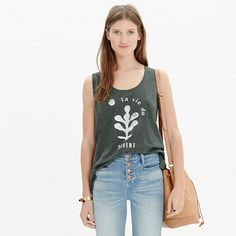 "This soft, drapey tank is a cool graphic nod to one of our favorite vacation spots—and, like any good souvenir tee, the slogan is perfectly distressed for a had-it-forever look. (Spacing on your high school French? <i>La vie du désert</i> means ""desert life"" <i>en français</i>.)  <ul><li>Drapey fit.</li><li>Cotton/linen.</li><li>Hand wash.</li><li>Import.</li></ul>"