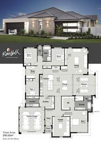 Small Modern House Plans One Floor. 20 Small Modern House Plans One Floor. Home Design with 4 Bedrooms Modern House Floor Plans, Dream House Plans, Modern House Design, Luxury Floor Plans, Home Design Plans, Plan Design, Layout Design, Design Ideas, Home Layout Plans
