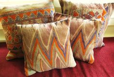 Handwoven Antique Rug Pillows Set of 4 by Stephanie by Barneche, $415.00