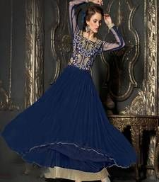 Buy Pleasant Soft Net Hand Embroidered Blue Coloured Designer Gowns party-wear-gown online