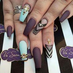 Magenta, purple, Black nails