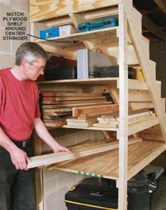 In my basement shop every square inch counts! Out of necessity I found a wealth of unused space tucked right under my nose,or should I say feet.That awkward space under the basement steps can easily be turned into a set of deep shelves perfect for storing everything from tools to shop vacuums, and of course, lumber. Help your small shop seem a lot bigger by using this highly underutilized space.