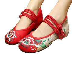 CHINESE #EMBROIDEREDSHOES #WOMEN BALLERINA MARY JANE FLAT BALLET COTTON LOAFER RED