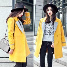 Shalex Longline Coat With Contrast Collar