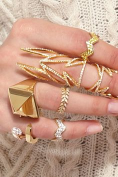 Stacks on stacks of gorgeous gold rings!