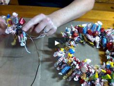 A quick and easy holiday gift made from a wire hanger and hard candies. And a great project to make with the kids too. Supplies: Yarn, Wire Hanger, Hard Candy…