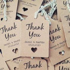 16 Thank You Wedding Favour Tags Thank you by LittleIndieStudio www.etsy.com/ #weddingfavors