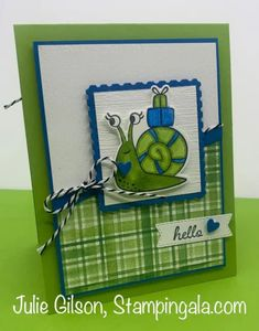 Greeting cards and treat holder created with Stampin' Up's Snailed It Bundle. #Stampin' Up, #Stampin' Gala, #Birthday, #Valentine's Day, #Children's Cards Snail Cards, Kids Birthday Cards, Treat Holder, Stamping Up, Rubber Stamping, Animal Cards, Paper Pumpkin, Kids Cards, Creative Cards
