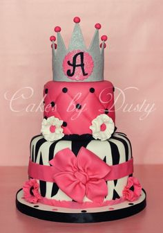 pink and zebra princess cake for baby shower girl or birthday girl
