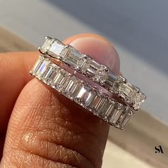 When it comes to Diamond setting. Would you prefer North South Setting (Bottom ring) or East West setting (Top ring) ? Emerald Cut Wedding Band, Emerald Cut Eternity Band, Emerald Cut Rings, Emerald Cut Diamonds, Diamond Wedding Bands, Diamond Eternity Rings, Baguette Eternity Band, Emerald Band Ring, Baguette Diamond Band