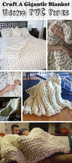 Craft A Gigantic, Fluffy Knit Fleece Blanket Using PVC Pipes - JudeBuxom. Cute Diy Projects, Yarn Projects, Knitting Projects, Crochet Projects, Sewing Projects, Finger Knitting, Arm Knitting, Knitting Patterns, Fluffy Blankets