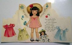 RARE Antique Vintage 1950's UNCUT PAPER DOLL Get Well Greeting CARD Gatto 1954 (05/05/2013)