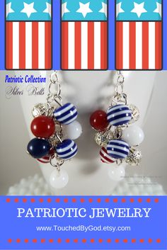 #Earrings #Jewelry #Cluster #Patriotic #RedWhiteAndBlue #USA #IndependenceDay #4thOfJuly #Handcrafted Show your Patriotism this #July4th with these bouncy Cluster Earrings that boast Red, White, Blue, Striped Glass Beads & Silver Filigree Beads - Great to wear to 4th of July parties & fireworks. For ladies who want jewelry as fabulous as they are! - Visit my shop at www.TouchedByGod.etsy.com!