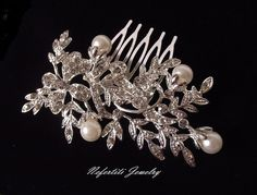 Bridal hair comb pearl wedding comb by nefertitijewelry2009