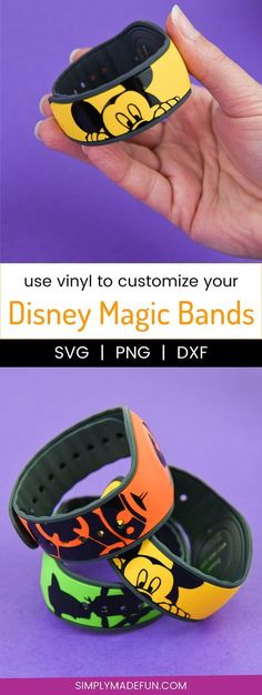 Customize Your Disney Magic Bands with Vinyl Disney Magic Bands - Get ready to show your with custom Disney Magic Bands! All you need is 20 minutes, a Silhouette Machine, and some vinyl to end up with a new craft obsession. via Simply Made Fun Disney Magic Bands, Magic Band 2, Magic Bands Disneyworld, Disney World Vacation, Disney Vacations, Disney Trips, Disney Vacation Shirts, Disneyland Trip, Family Vacations
