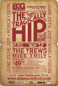 An online community that shares a love of The Tragically Hip. We express opinions, create art and relay news. Band Posters, Cool Posters, Can Band, Big Music, Better Music, Hey Man, Music Fest, Typography, Lettering