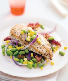 Sauteed Chicken With Corn and Edamame recipe from realsimple.com #myplate #protein