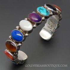 Native American Jean & Martha Jackson Navajo Sterling Silver Multi Gemstone Beaded Cuff Bracelet