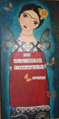 Frida Kahlo Folk Art Painting http://erikaashleyfolkart.blogspot.com/