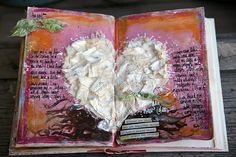 Open book with textured heart.