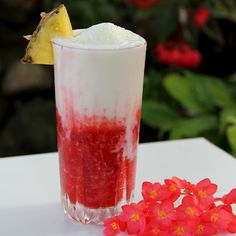 Lava Flow: half pina colada, half strawberry daiquiri....I bet this would taste like Tiger's Blood snowcones!