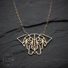 Dog necklace geometric dog pendant great dane jewelry  by ByYaeli