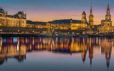 Download imagens Dresden, Rio elba, Alster, noite, passeios, Castelo de Dresden-residência, Alemanha
