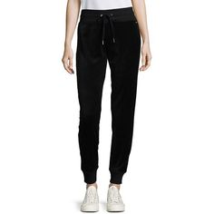 Calvin Klein Women's Velour Jogger Pants ($35) ❤ liked on Polyvore featuring black and calvin klein