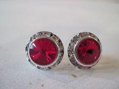Red Siam Crystal Rivoli Stud Earings/ Bling Earings/Bridesmaid Jewelry/ Wedding Jewelry/Crystal Earings. $13.00, via Etsy.