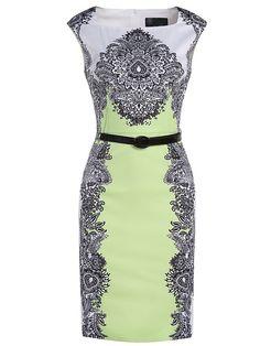 Shop Green Boat Neck Cap Sleeve Vintage Print Drawstring Dress online. SheIn…