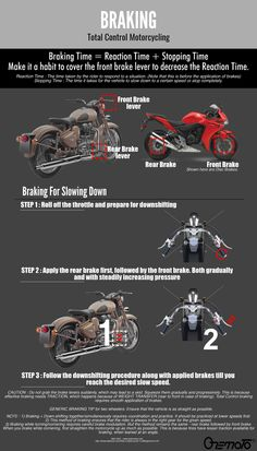 Section about braking which will give you life-saving knowledge and improve your riding skills. Braking on a bike must be practised well enough, especially for panic situations. Road Conditions, Riding Gear, Slow Down, Front Brakes, Motorcycle, Motorcycles, Motorbikes, Choppers