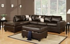 3 pcs Sectional Sofa in Bonded. Bonded Leather Sectional Sofa Set in 3 Colors Espresso / Cream / Black. This set include : 3 Seat Sofa, Reversible Chaise & Ottoman. Leather Couch Sectional, Wholesale Furniture, Sofa Design, Brown Leather Sofa, Sofa, Sectional Sofa, Living Room Sectional, Sofa Set, Leather Sofa Set