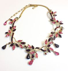 Vintage Corocraft Rhinestone Necklace Pink by GracesVintageGarden