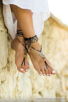 Gothic barefoot sandals Beach wedding anklets with dragons Beaded barefoot sandals Boho bottomless sandals Hippie footless sandles by Elvish Things