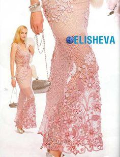 Изумительное вечернее платье в пол от Марины Шеиной вязаное крючком | Блог elisheva.ru
