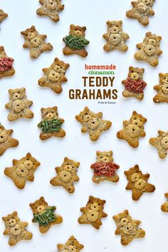 Gluten-Free CINNAMON TEDDY GRAHAMS with fuzzy sweaters made from homemade (healthier) sprinkles. #glutenfree #grainfree