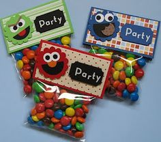 Sesame street party favor - skittles since its outside
