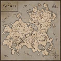 Map of Aconia, Karin Wittig on ArtStation at https://www.artstation.com/artwork/8mmeG