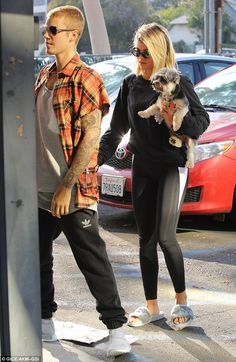 Back together: Justin Bieber was spotted with his girlfriend Sofia Richie in Burbank, California, on Tuesday afternoon