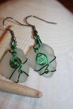 Green Wire Wrapped Authentic Clear Sea Beach by MermaidsCavern, $10.00
