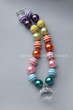 Chunky Necklace - Children's Necklace - Chunky Beaded Necklace - Rainbow Necklace.