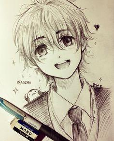 ✮ ANIME ART ✮ anime boy. . .school uniform. . .blazer. . .tie. . .smile. . .penguin. . .sparkling. . .sketch. . .doodle. . .pencil. . .graphite. . .cute. . .kawaii