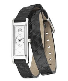 Look what I found on #zulily! Stainless Steel & Black Florence Leather-Strap Watch #zulilyfinds